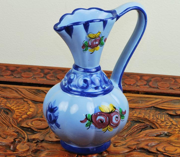 Portugal Ceramic Pottery Blue Vase Floral Pattern 1107