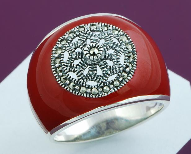 Renaissance Style Marcasite & Red Enamel Sterling Silver Ring 6 - Click Image to Close