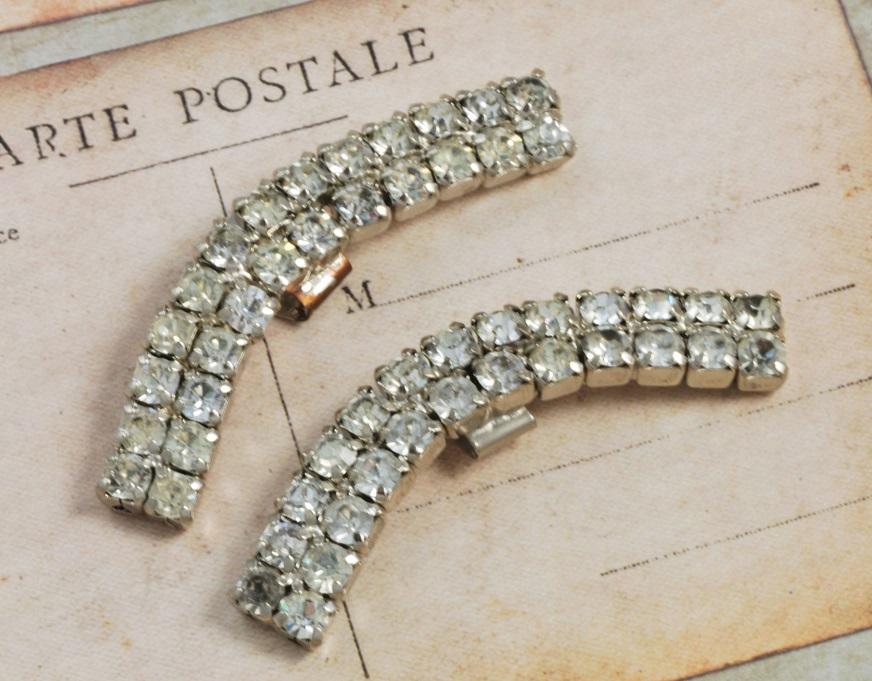 vintage silver rhinestone shoe clips