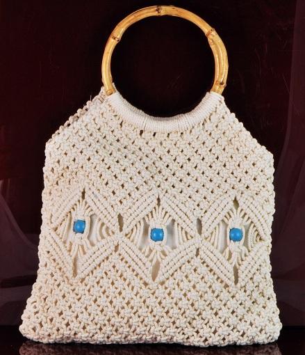 Macrame Handbag With Turquoise Beads Bamboo Handle