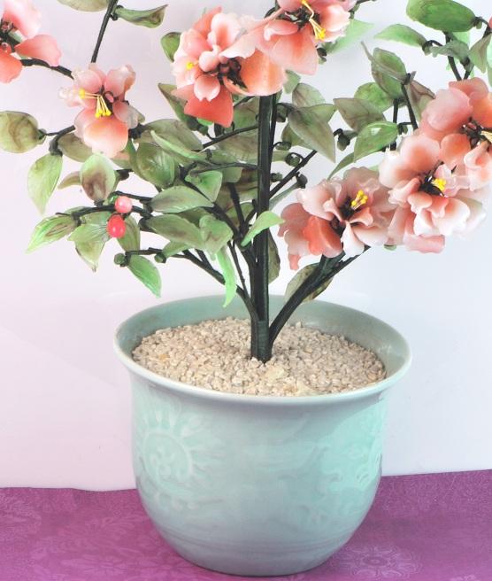 Asian Vintage Art Glass Flower Arrangement In Pot 2311