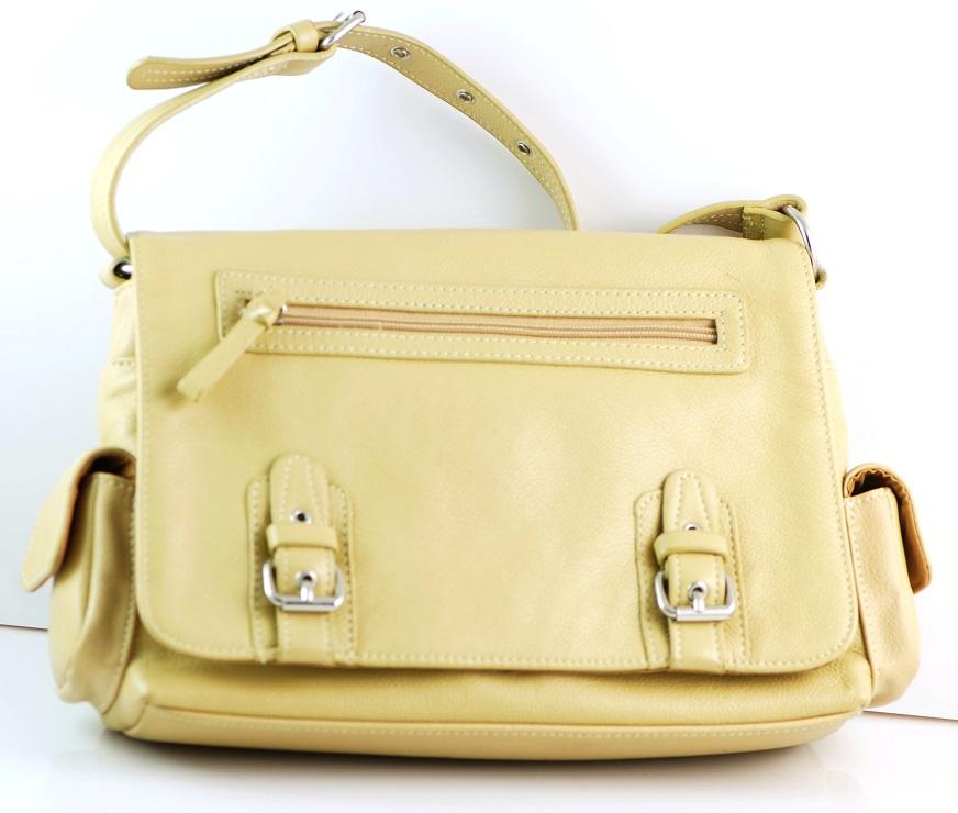 Aurielle Soft Pebbled Leather Handbag Sandstone Color