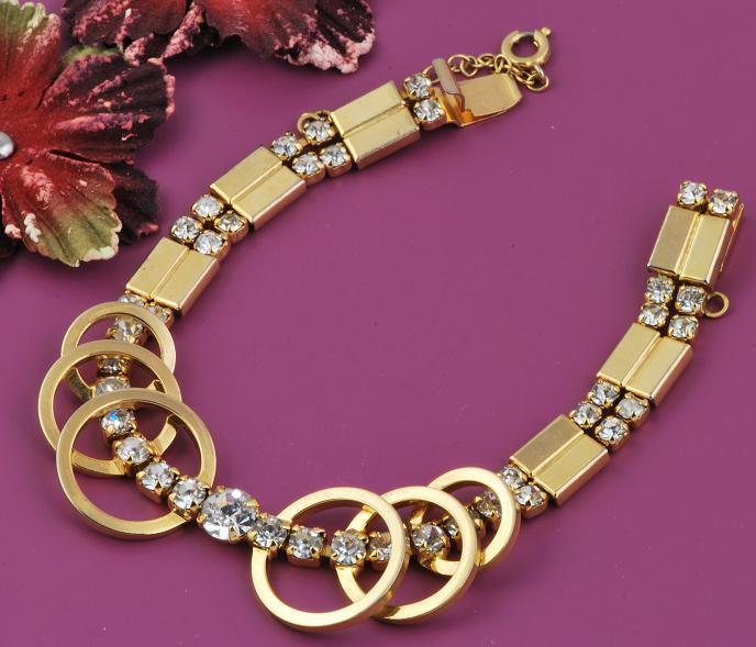 Art Deco Circle Rhinestone Link Bracelet w/Safety Chain