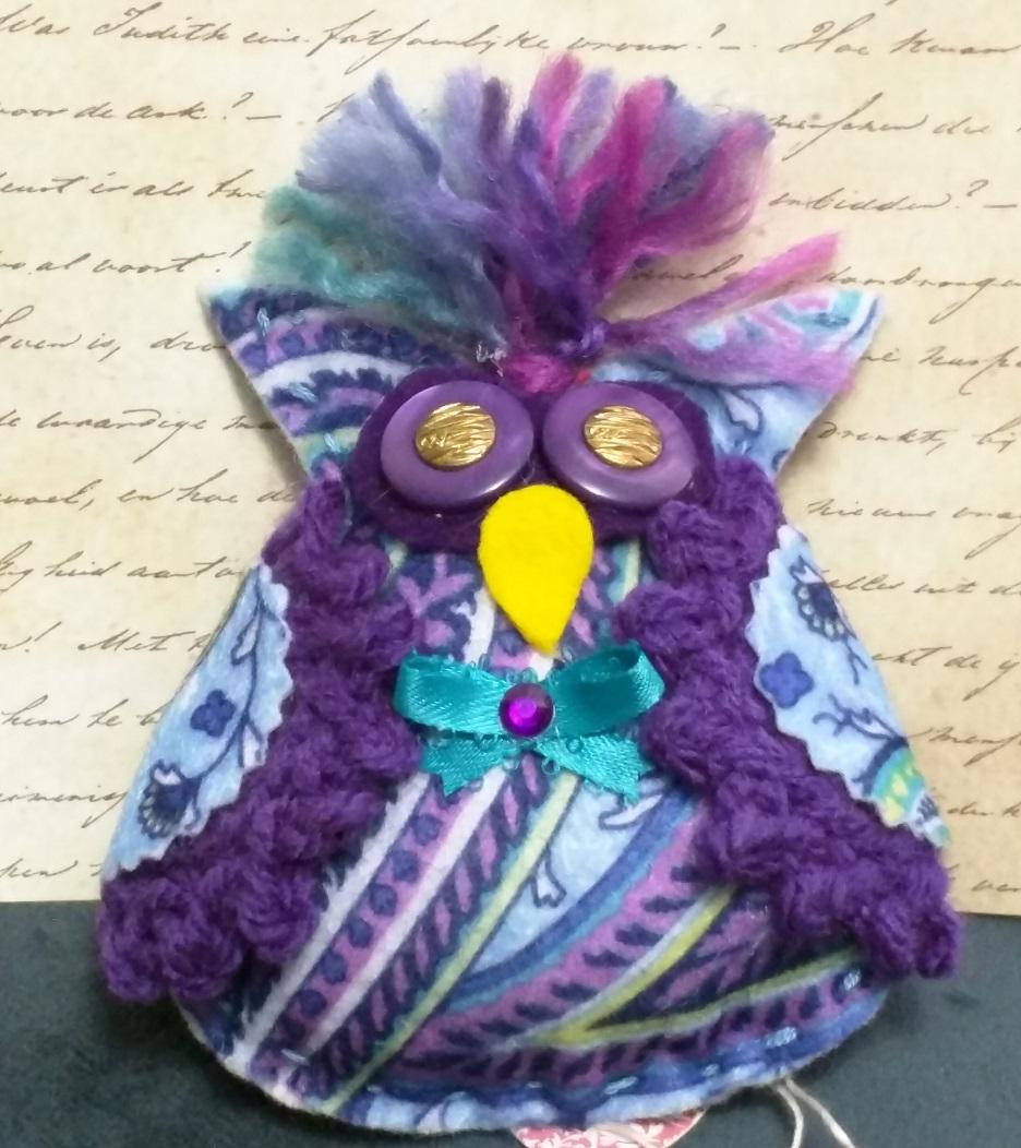 Zany Bird Owl Oranment Felted And Crochet Paisley Pattern